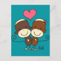 Sock Monkey Hugz Postcard postcard