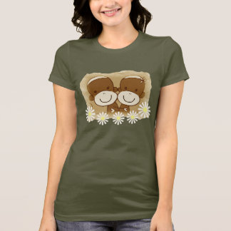 Sock Monkey Hugz Retro Ladies T-shirt