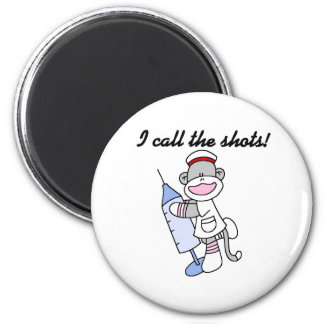 Sock Monkey I Call the Shots 2 Inch Round Magnet