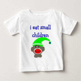 "Sock Monkey ""I EAT SMALL CHILDREN"" Baby T-Shirt"