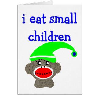 "Sock Monkey ""I EAT SMALL CHILDREN"" Card"