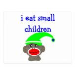 "Sock Monkey ""I EAT SMALL CHILDREN"" Post Card"