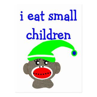 "Sock Monkey ""I EAT SMALL CHILDREN"" Postcard"