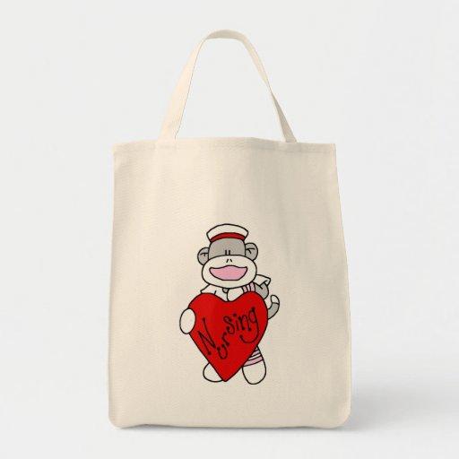 Sock Monkey I Love Nursing T-shirts and Gifts Bag