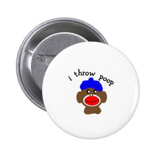 "Sock Monkey ""I THROW POOP"" Pinback Buttons"