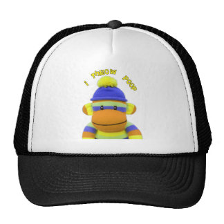 "Sock Monkey ""I Throw Poop"" Design--Adorable Trucker Hat"