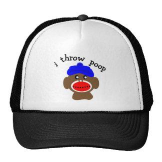 """Sock Monkey """"I THROW POOP"""" Hats"""