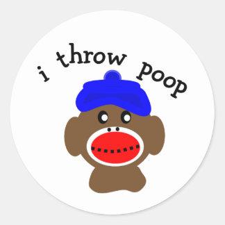 "Sock Monkey ""I THROW POOP"" Round Stickers"