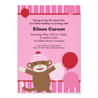 Sock Monkey Invitation - Pink