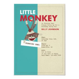 "Sock Monkey Invitation-Turning one! 4.5"" X 6.25"" Invitation Card"