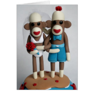 Sock Monkey Island Wedding Card