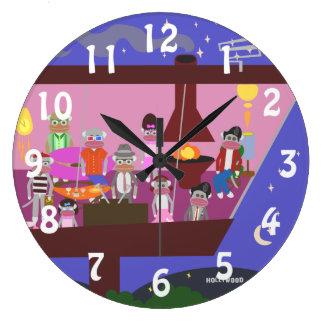 Sock Monkey Jet Set Party Large Clock