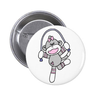 Sock Monkey Jumping Rope Pinback Button