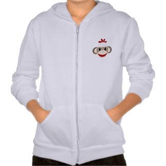 Sock Monkey Kid's Fleece Zip Hoodie, White Hooded Sweatshirt