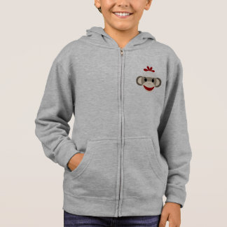 Sock Monkey Kid's Fleece Zip Hoodie, White Hoodie