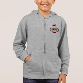 Sock Monkey Kid's Fleece Zip Hoodie, White Hoodie