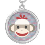 Sock Monkey Large Silver Plated Round Necklace
