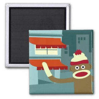 Sock Monkey Lounge Night 2 Inch Square Magnet