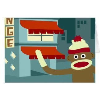 Sock Monkey Lounge Night Greeting Card