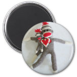 Sock Monkey Love #1 2 Inch Round Magnet