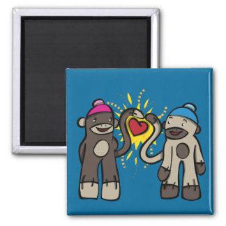 Sock Monkey Love 2 Inch Square Magnet