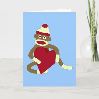 Sock Monkey Love Heart Card