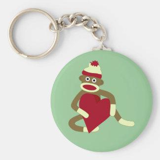 Sock Monkey Love Heart Keychain