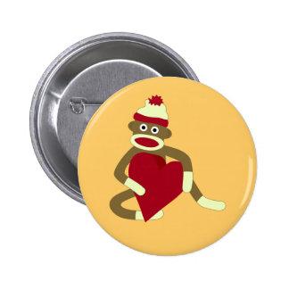 Sock Monkey Love Heart Pinback Button