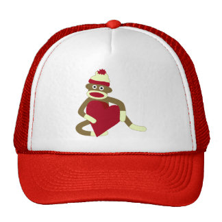 Sock Monkey Love Heart Trucker Hat