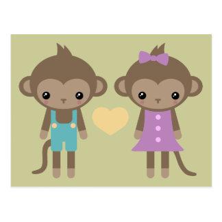 Sock Monkey Love Postcard