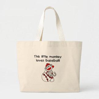 Sock Monkey Loves Baseball Tote Bag