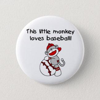 Sock Monkey Loves Baseball Button