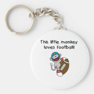 Sock Monkey Loves Football Basic Round Button Keychain
