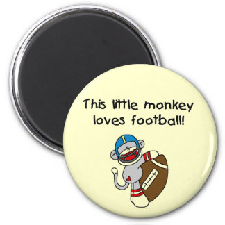 Sock Monkey Loves Football Tshirts and Gifts 2 Inch Round Magnet