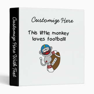 Sock Monkey Loves Football Tshirts and Gifts Binder