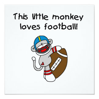 Sock Monkey Loves Football Tshirts and Gifts Card