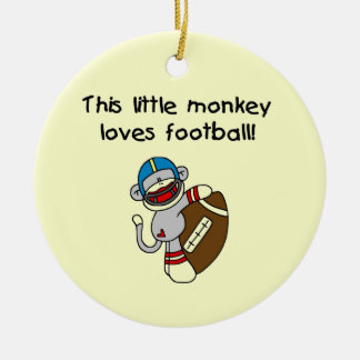 Sock Monkey Loves Football Tshirts and Gifts Ornaments