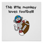 Sock Monkey Loves Football Tshirts and Gifts Poster