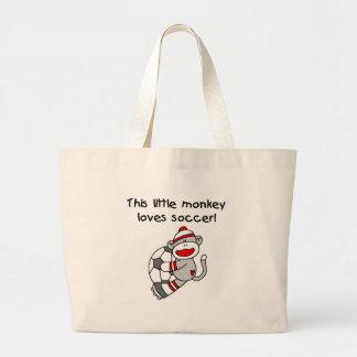 Sock Monkey Loves Soccer Jumbo Tote Bag