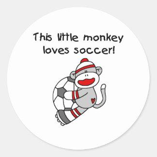 Sock Monkey Loves Soccer Classic Round Sticker
