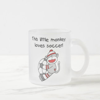 Sock Monkey Loves Soccer T shirts and Gifts 10 Oz Frosted Glass Coffee Mug