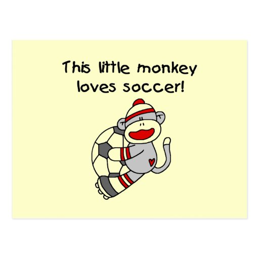 Sock Monkey Loves Soccer T shirts and Gifts Post Card