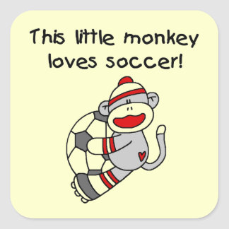 Sock Monkey Loves Soccer T shirts and Gifts Square Sticker