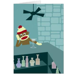 Sock Monkey Martini Bar Card
