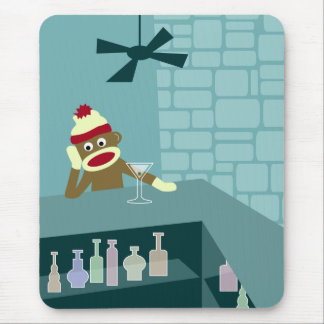 Sock Monkey Martini Bar Mouse Pad
