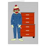 Sock Monkey Mechanic Greeting Card