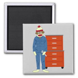 Sock Monkey Mechanic Refrigerator Magnet