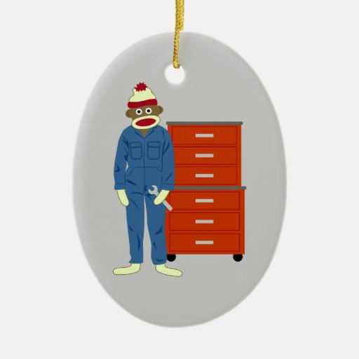 Sock Monkey Mechanic Double-Sided Oval Ceramic Christmas Ornament