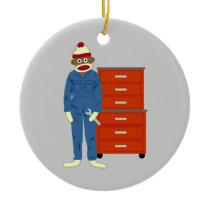 Sock Monkey Mechanic Ornament