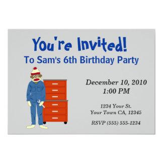 Sock Monkey Mechanic Party Invitations